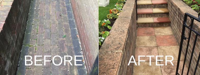 exterior wall and path cleaning